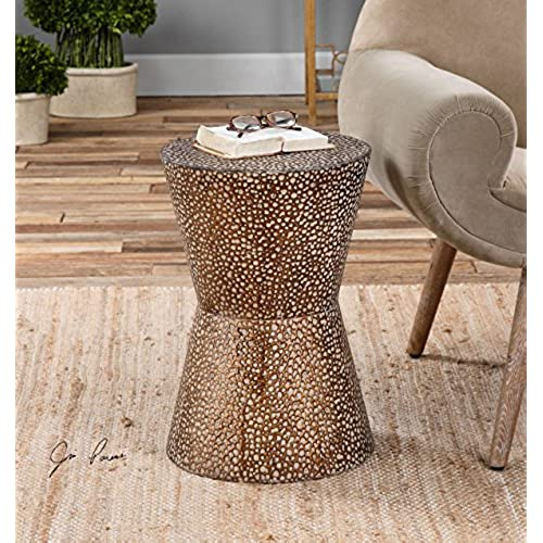 Modern Copper Bronze Drum Table | Pierced Hammered Metal End Round
