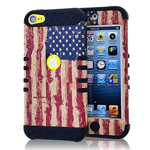 iTouch 5th & 6th Generation Case - WirelessMobile Hybrid Hard & Soft Rubber High Impact Shockproof Armor Skin Cover for Apple iTouch 5th & 6th Gen (Vintage American Flag + Black)