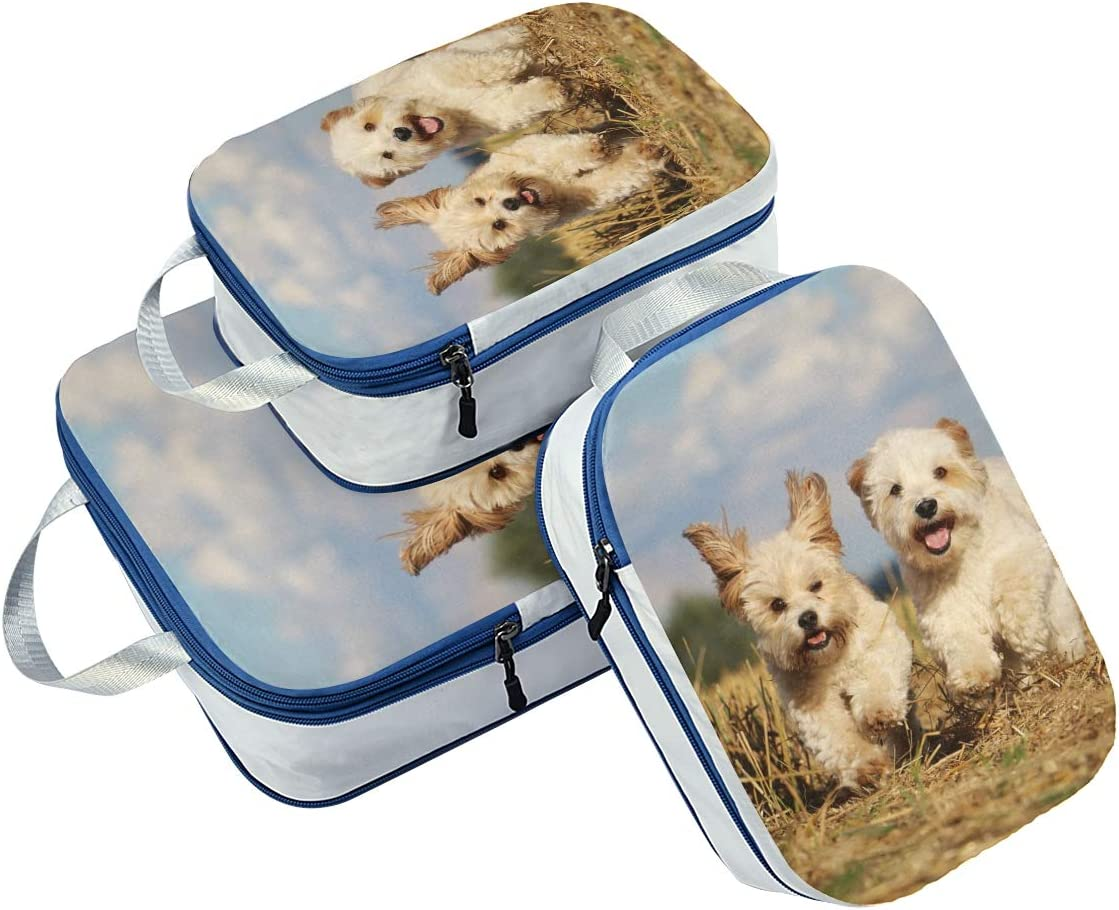 Cute Puppy Dogs 3 Set Packing Cubes,2 Various Sizes Travel Luggage Packing Organizers i