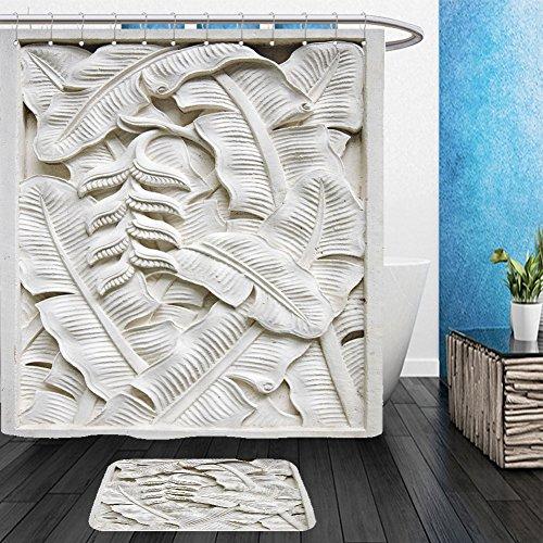Vanfan Bathroom 2?Suits 1 Shower Curtains & ?1 Floor Mats bali stone carving 61234447 From Bath room (Superman Pumpkin Carving)