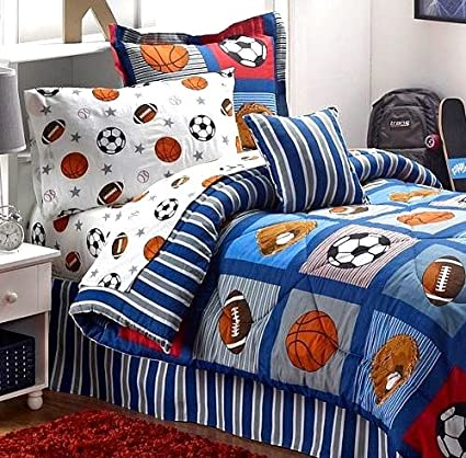 BOYS SPORTS PATCH Football Basketball Soccer Balls Baseball Blue Comforter Set TWIN SIZE 6pc Bed