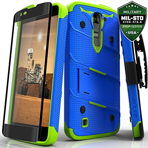 Cell Accessories For Less (TM) For LG Tribute 5 K7 Phoenix 2 Escape 3 Treasure LTE K8 - Zizo Bolt Cover Tempered Glass [Military Grade] Case Bundle (Stylus & Micro Cleaning Cloth) - By TheTargetBuys