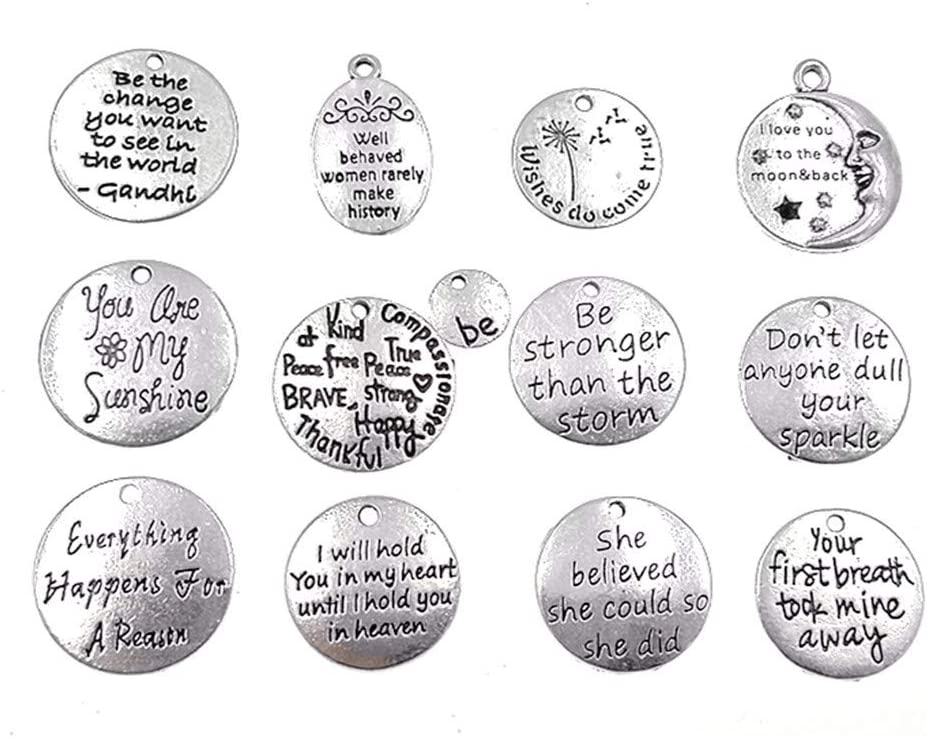 Quote Pendant Word Link Inspirational Word Charm Connector To the Moon /& Back