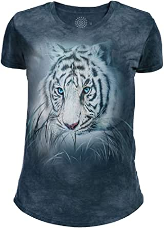 The Mountain Womens Tri-Blend Thoughtful White Tiger T-Shirt Short Sleeve T-Shirt