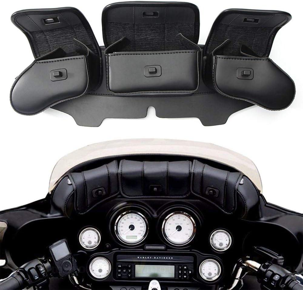 Festnight Sac pour Pare-Brise de car/énage 3 Poches pour Harley Electra Street Glide Touring Installation Facile