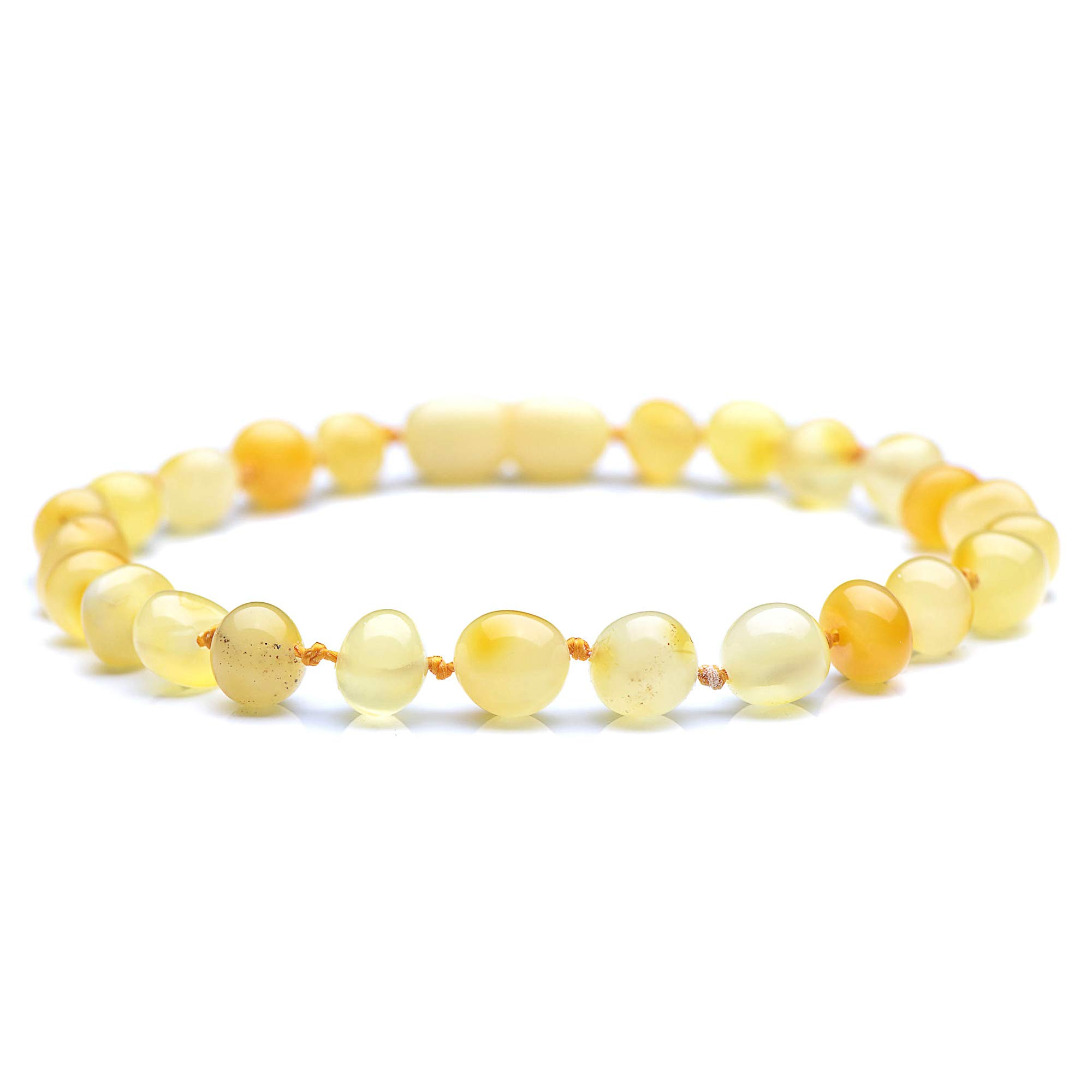 Genuine Baltic Amber Bracelet for Adult - Knotted Between Beads - Screw Clasp (Honey, 7.8)