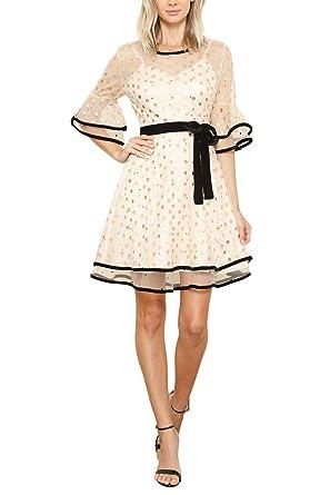 GEEGEEBAE L atiste Women s Sheer Fit   Flare Gold Polka Dot Mini Dress  (Small 2b5351d5b