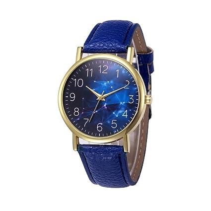 Xinantime Relojes Mujer,Xinan PU Banda de Cuero Aleación Analógica de Cuarzo Reloj (Azul