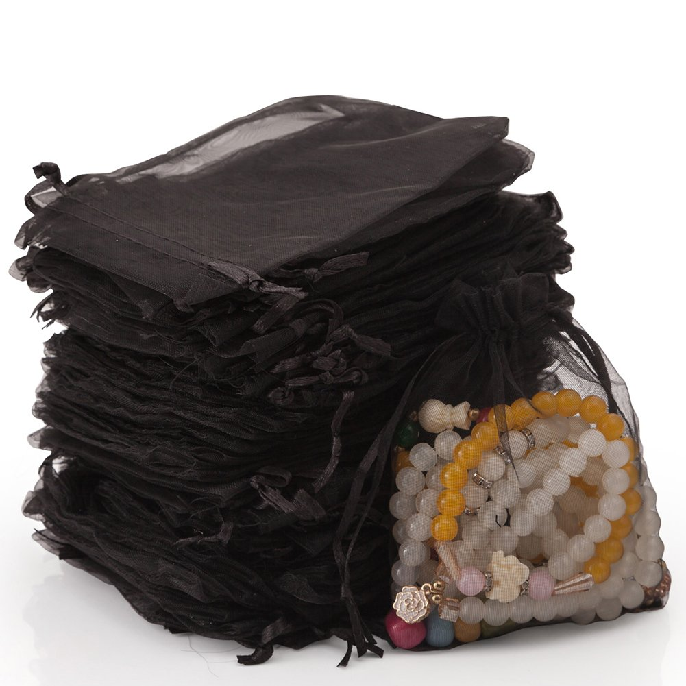 handrong 100pcs Sheer Drawstring Organza Gift Bags Jewelry Candy Chocolate Mesh Pouches for Wedding Party Bridal Baby Shower Birthday Engagement Christmas Holiday Favor, 5 x 4 Inch [Black]