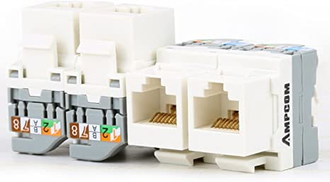 CAT5e Keystone RJ45 Ethernet Toolless Tool-Less Snap-In Jack Orange 5 Pack Lot