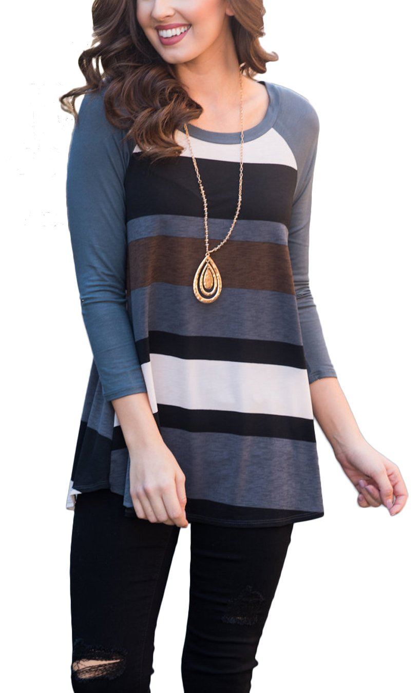 Newchoice Cotton Fall Tunic Tops for Leggings for Women Stripe Pattern T-Shirt Loose (M, Navy Blue)