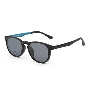 1fa67aee6eb Retro Round Polarized Magnetic Sunglasses Clip on Eyeglasses Frame Men Women  (Matte Black Grey