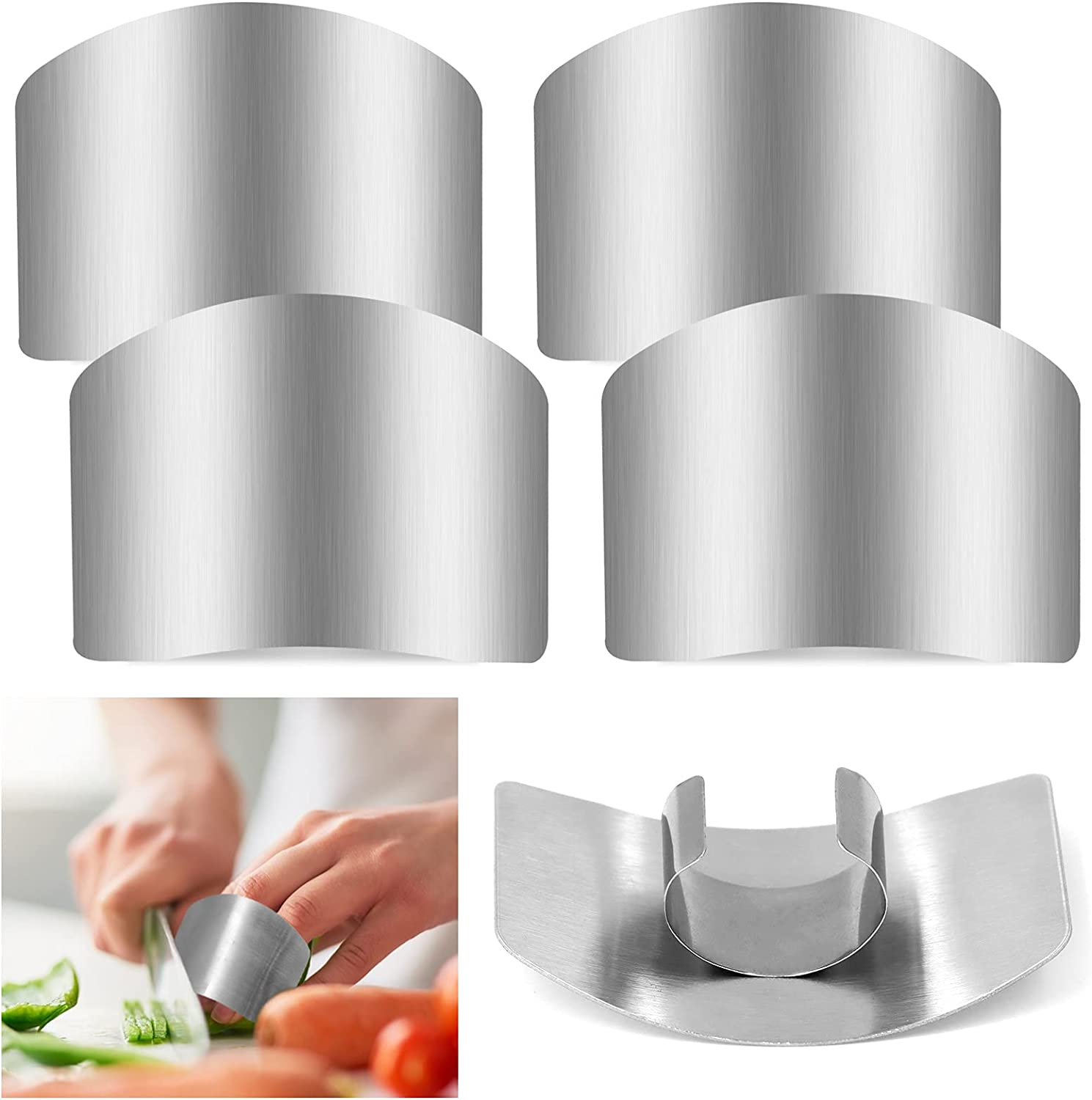 ZOCONE 4 PCs Finger Guard For Cutting Kitchen Tool Finger Guard Stainless Steel Finger Protector Avoid Hurting When Slicing and Dicing Kitchen Safe Chop Cut Tool (PH0088-4)