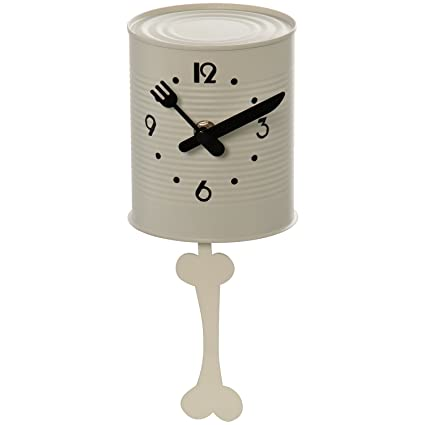 DRW DonRegaloWeb - Reloj de Pared para Cocina con Forma de Lata con péndulo Hueso Blanco