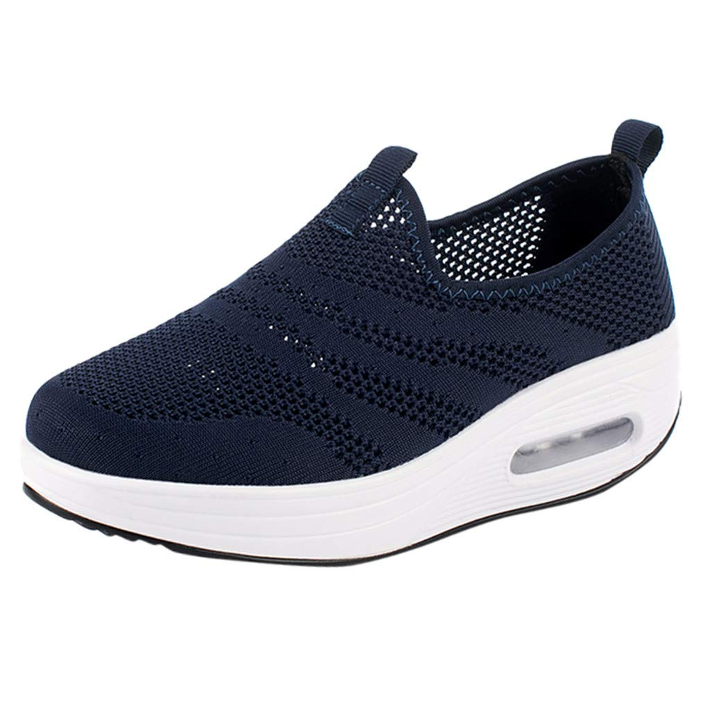 Peize Women Running Shoes Air Cushion Trail Fashion Sneakers Lightweight Tennis Sport Casual Walking Athletic Thick-Soled Sneakers Shoes Dark Blue