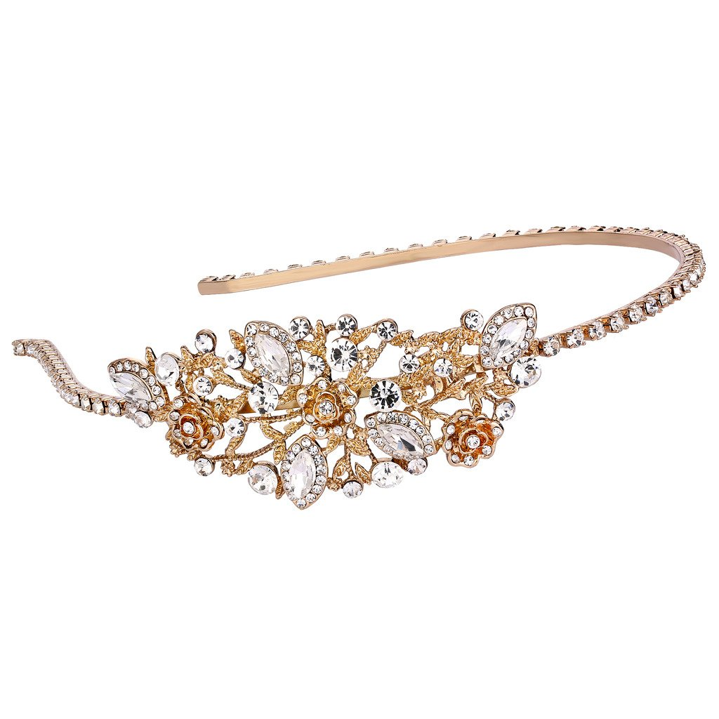 EVER FAITH Women's Austrian Crystal Wedding Bridal Flower Leaf Cluster Hair Band Clear Gold-Tone