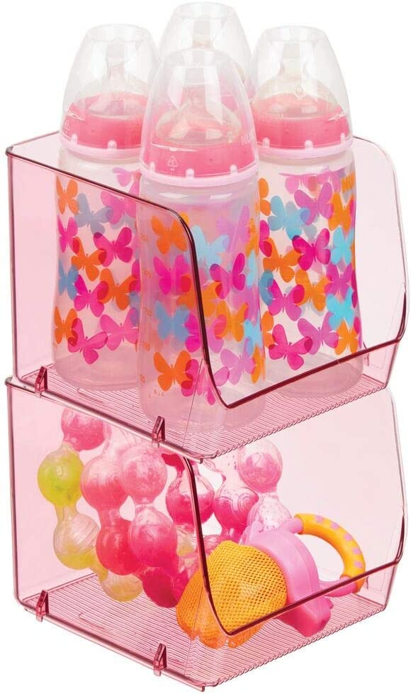 Clothes mDesign Set of 4 Open-Fronted Nursery Storage Box /— Plastic Baby Organiser Box for Nappies Toys and More /— Convenient Kitchen Bedroom or Playroom Storage Container /— Pink