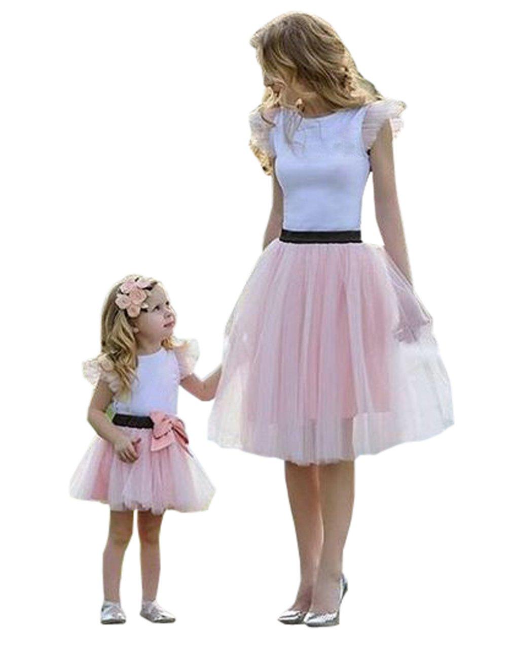 Family Matching Mom Baby Girls White Tshirt Top and Pink Tutu Skirt Clothing Sets matching dress