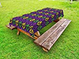 Ambesonne Mardi Gras Outdoor Tablecloth, Antique Old Fashioned Motifs in Mardi Gras Holiday Colors Tile Pattern, Decorative Washable Picnic Table Cloth, 58 X 84 Inches, Purple Green Yellow