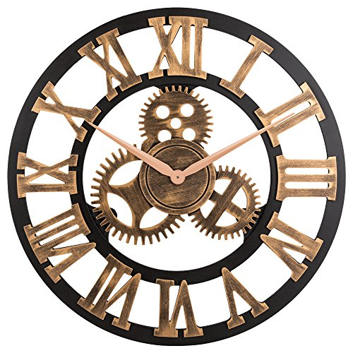 23 inch Noiseless Silent Gear Wall Clock - Large 3D Retro Rustic Country Decorative Luxury Art Big Wooden Vintage Steampunk Industrial decor for House Warming Gift,(Roman Numeral,Anti-Bronze)