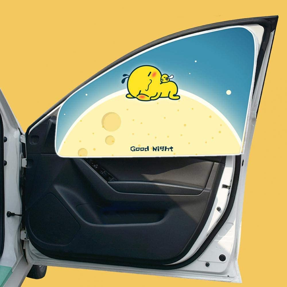 Cuque Car Sun Shade 80 x 49cm Universal Car Front Rear Side Window Curtain Color Fabric Front Right Side UV Coated Fabric Auto Sun Shade Visor Cartoon Curtain Resist 99/% Light and UV for Baby Kids