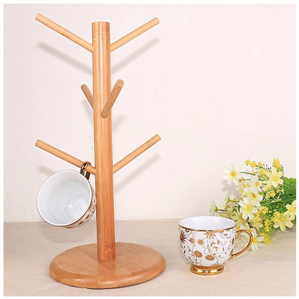 Mug Rack Tree Drying Stand, Cup Holder Organizer 6 Removable Bamboo Hanger Rack Holds Coffee Tea for Home Kitchen (Natural Wood)
