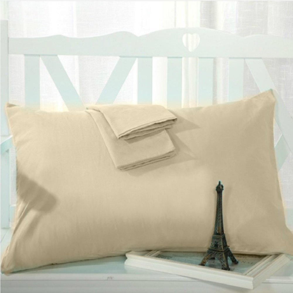 Splendid Collections 600 Thread Count 100% Cotton Solid Beige, Extended King Pillowcases (22''x 44'') - Set of 2 - Envelope Closure End - Ultra Soft Luxury Hotel Quality