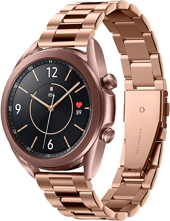 Amazon Com Spigen Modern Fit Designed For Samsung Galaxy Watch 3 41mm Band 2020 Galaxy Watch Active 1 2 2019 Galaxy Watch 42mm 2018 Gear S2 Classic 20mm Smartwatch Band Rose Gold