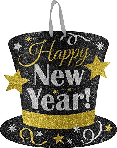 Year Hat Happy Top New (HAPPY NEW YEAR GLITTER TOP HAT HANGING SIGN DECORATION)