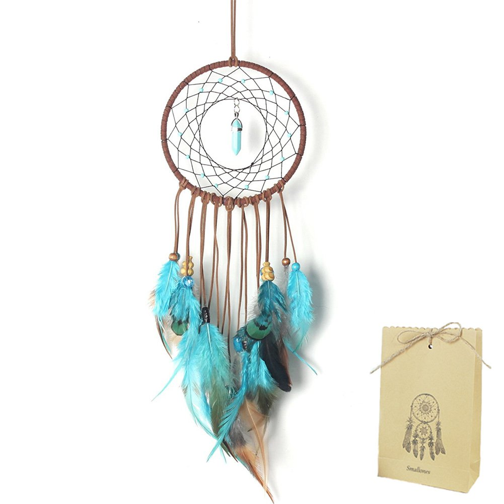 Smallones Dream Catcher for Kids Bedroom Decal Turquoise Stone Handmade Large Dreamcatcher