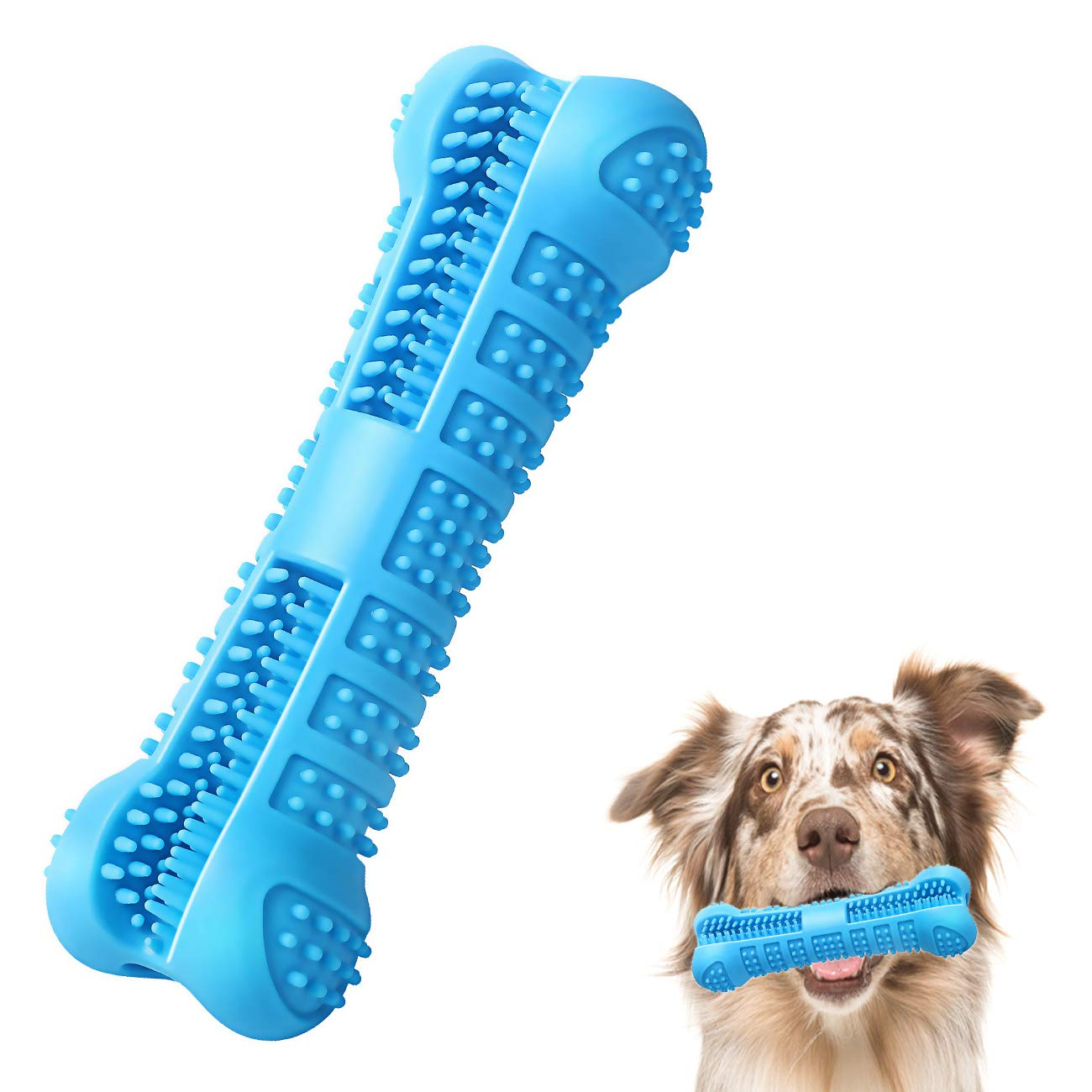 Skywoo Dog Toothbrush Stick - 2019 Upgraded Puppy Dog Teeth Cleaning Brush Deep Cleans Dental Care Effective Teeth Cleaning Kit for Small Medium Dogs Pets - Blue by Skywoo