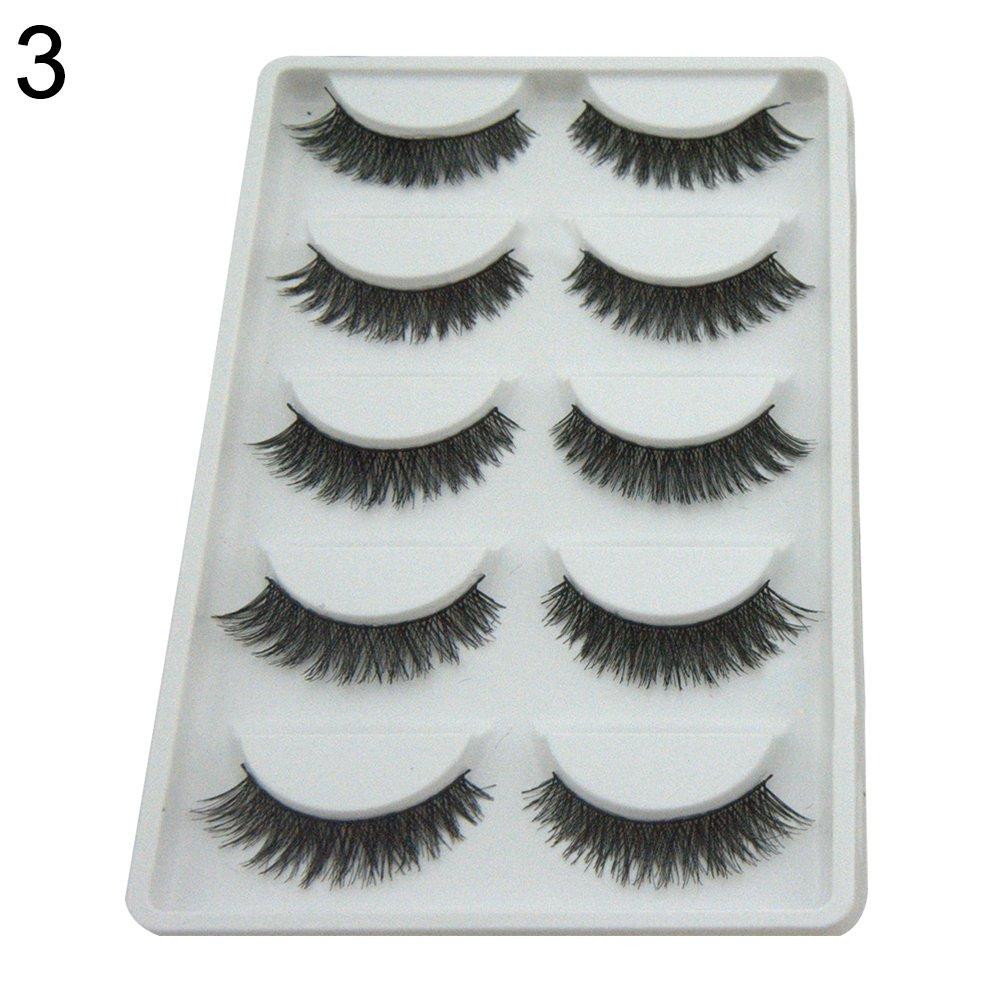 5575e3396a8 Amazon.com : YuYe 5 Pairs Cross Lengthen False Eyelashes Natural Looking  Fake Lashes Eye Makeup - 3# : Beauty
