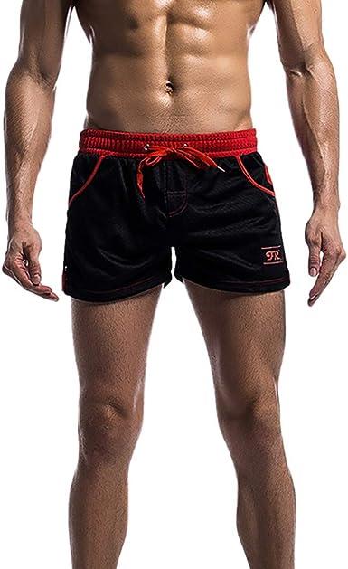 Pantalones Cortos de los Hombres Malla de Color sólido Tres ...