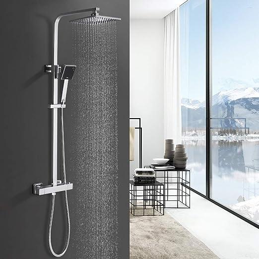 Homelody Duschsystem mit Umsteller Duschsäule Duschset Handbrause Kopfbrause Bad