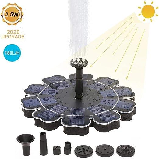 Fuente solar, 2,5 W, bomba de agua para estanque exterior, con 7 estilos de fuente, para jardín, piscina de pájaros, estanque, contenedor de peces, decoración: Amazon.es: Hogar