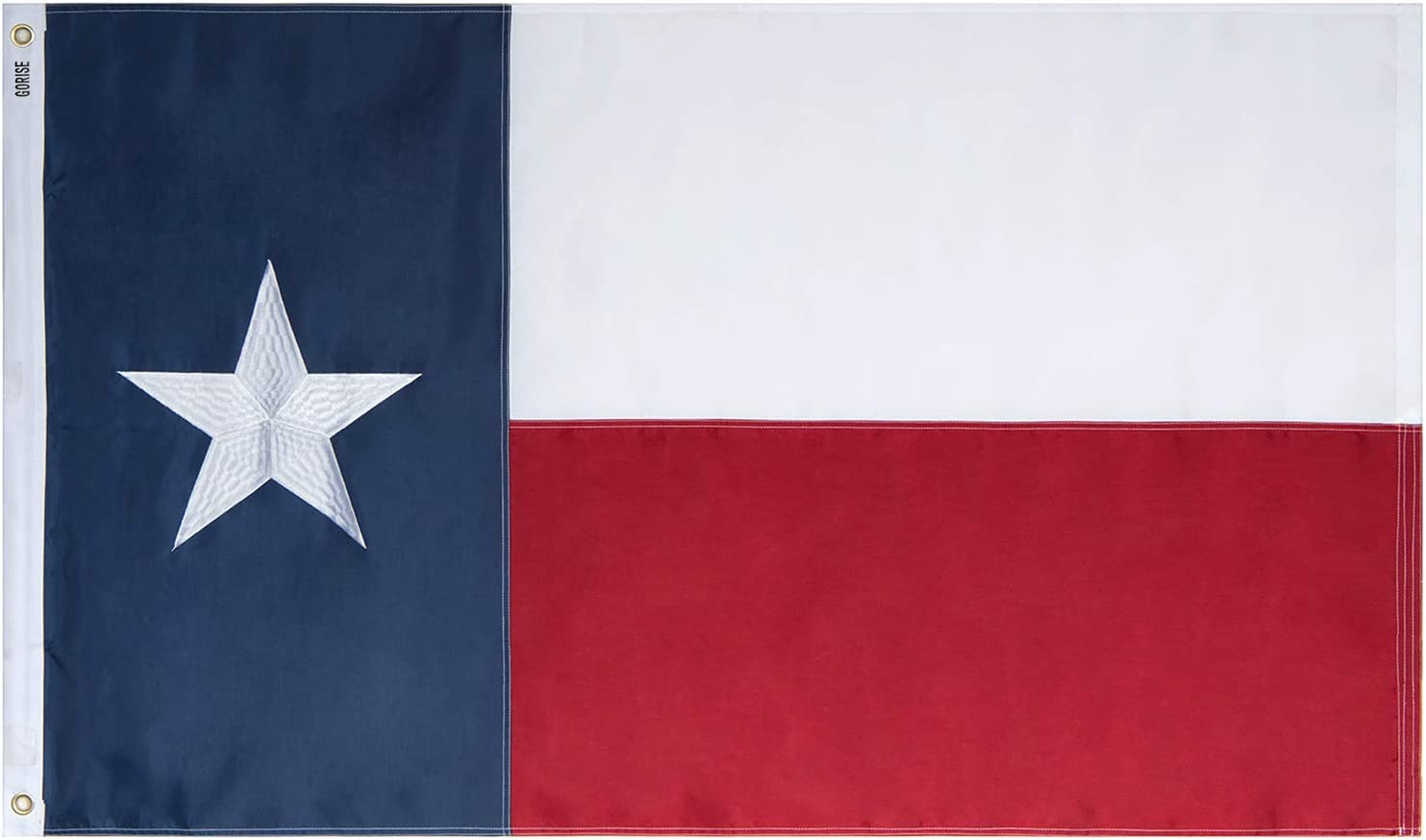 GORISE US Texas Flag 3x5 ft, State Flags of Texas Embroidered Stars with Brass Grommets for Durable US TX Flags Garden Decor (Texas Flag 3x5 Ft)
