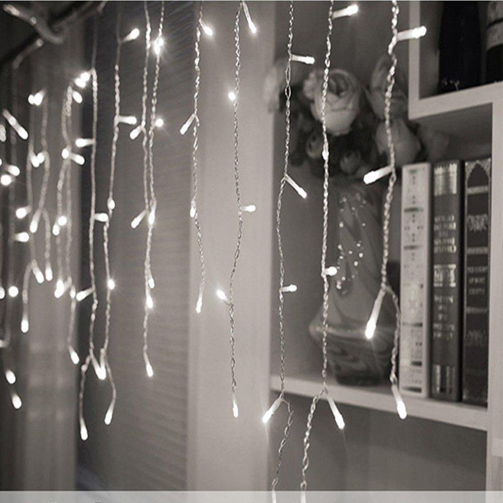 Kaltwei/ß, Timer Energieklasse A+ 600er LED 15m Eisregen Lichterkette Lichtervorhang Eiszapfen Au/ßen Innen Deko f/ür Garten Party Hochzeit Strombetrieben mit Stecker Gresonic