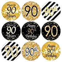 DISTINCTIVS Black and Gold 90th Birthday Party Favor Labels - 180 Stickers