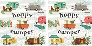 Design Design Cocktail Napkins, Bundle of 2 Packs (Happy Camper, 40 Napkins)
