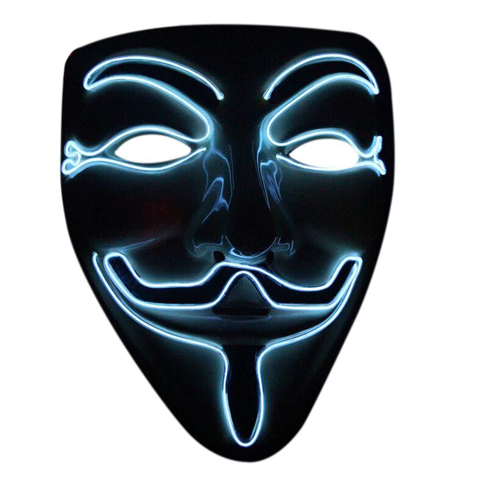 Nuoka ハロウィン コスプレ 仮面舞踏会 LED マスク V ベンデッタマスク  ホワイト B07GLQ98R3