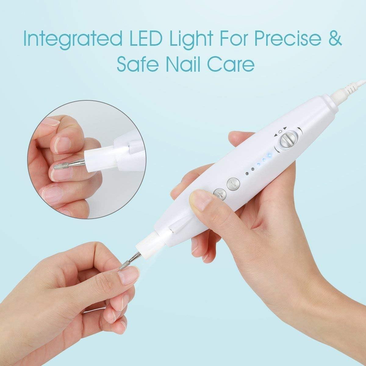 BEAUTURAL Kit de Manicura y Pedicura Eléctrico Profesional, Potente Lima Manicura Pulidora para Uñas