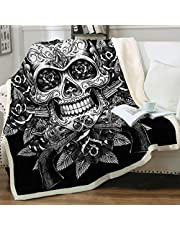 Sleepwish Sugar Skull Blanket Comfort Warmth Soft Cozy Air Conditioning Machine Wash Black and White Rose Skull Sherpa Fleece Blanket (Throw 50x60)