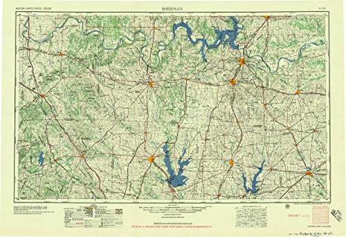 YellowMaps Sherman TX topo map, 1:250000 Scale, 1 X 2 Degree, Historical, 1958, Updated 1959, 22.6 x 33 in - Paper