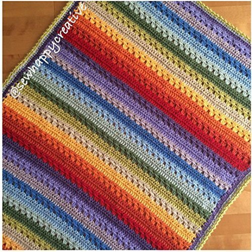 Baby Blanket crochet Handmade,new baby,cot, pram,buggy,car seat, nursery, baby shower gift,christening gift,moses basket crib (Striped Moses Basket)