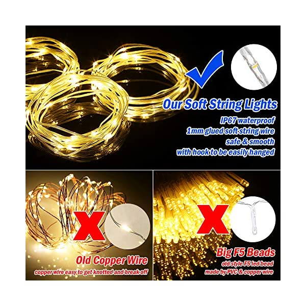 Tomshine Tenda Luci LED 3 x 3 meters, 300 LEDs con Luci Natale Tenda, IP65, 8 Programmi di Luce,Tenda di Luci per Natale, Decorazione Feste, Interni (Bianco Caldo) 3 spesavip