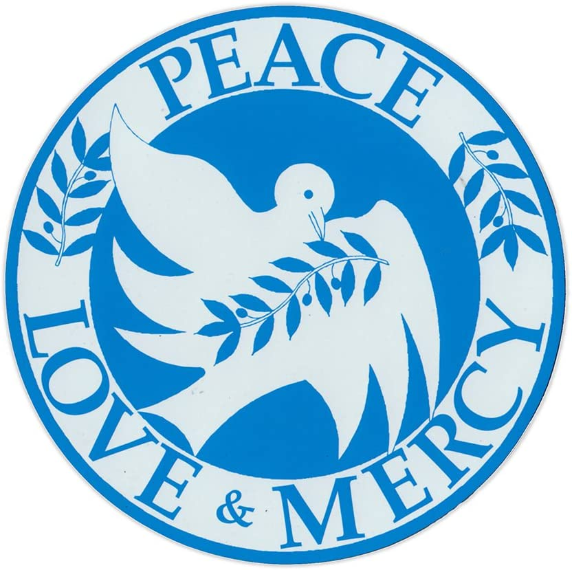 """Magnetic Bumper Sticker - Peace Love and Mercy (Doves) - Round Magnet - 5.75"""" Round"""