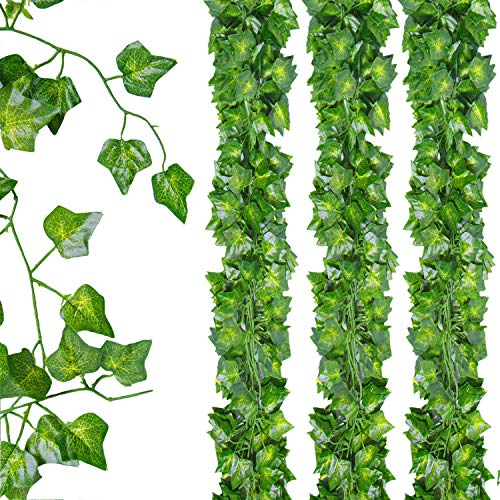 12 Pack Artificial Greenery Fake Leaves, Artificial Ivy Leaves Fake Greenery Vines Garlands Hanging for Wedding Party Garden Wall Decoration Outdoor Ivy Leaf
