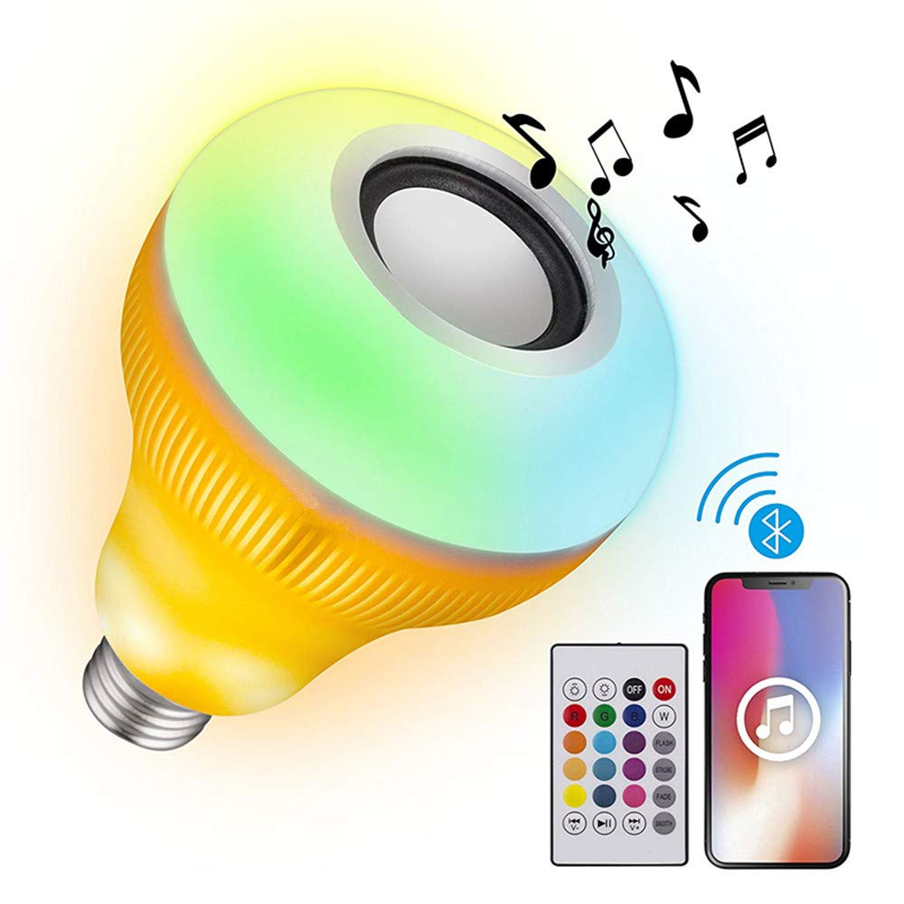 LED Light Bulb Bluetooth Speaker - 8W E27 RGB Changing Lamp Wireless Stereo Audio with 24 Keys Remote Control for Party, Home,Festival Decorations