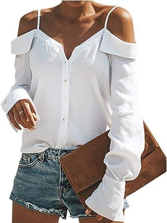 Blusas Mujer Blanco Vintage Otoño Primavera Fiesta Mode De Marca Hipster Camisas Colores Sólidos Sling Sin Tirantes Tops Camisetas: Amazon.es: Ropa y accesorios