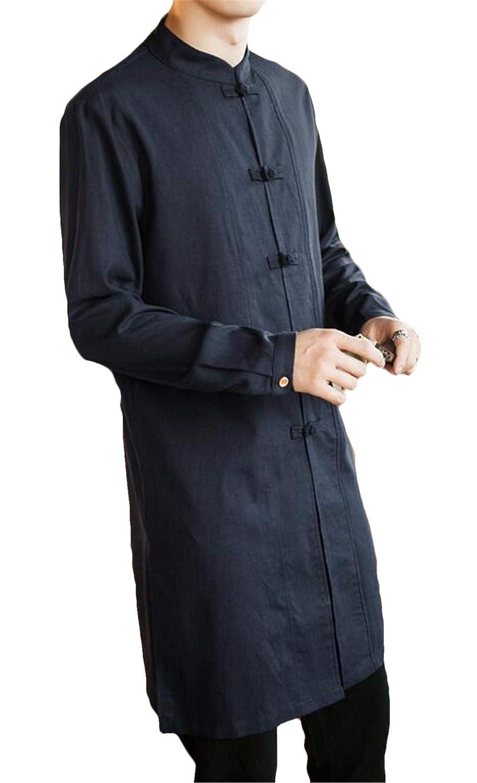 Nanquan Men Chinese Style Retro Longline Slim Cotton Linen Frog Button Shirt